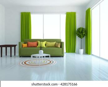 Living Room Green Curtain Design