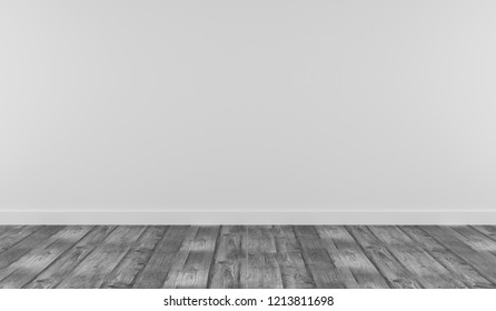 White room with grey wooden plank using as background, 3d rendering
