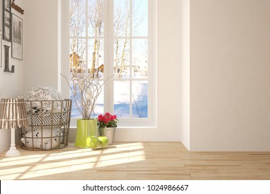 White room with home decor and winter landscape in window. Scandinavian interior design. 3D illustration