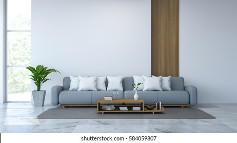 White room interior, blue sofa and wood table  on Marble floor and white wall /3d render