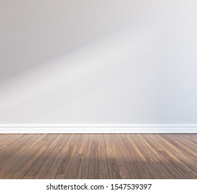 White room interior with a lot of a empty space, sunlight on a wooden floor, large wall, white landscape in window. Background interior. Home nordic interior. 3D illustration