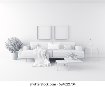 white room interior with furniture. Scandinavian interior design. 3d illustration