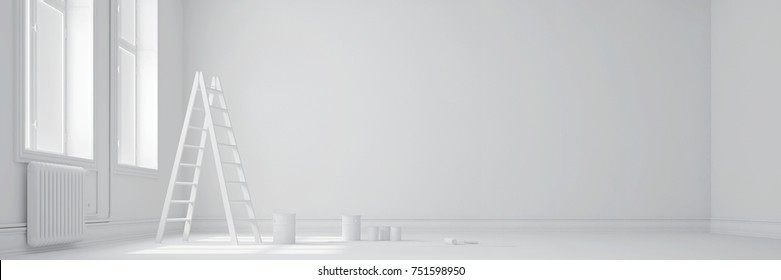 White room with ladder and paint buckets as panorama (3D Rendering)