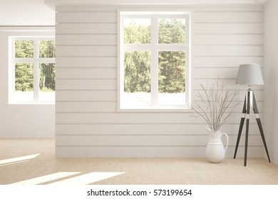 White room with lamp and green landscape in window. Scandinavian interior design. 3D illustration