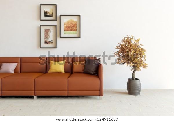 White Room Leather Sofa Scandinavian Interior Stock ...