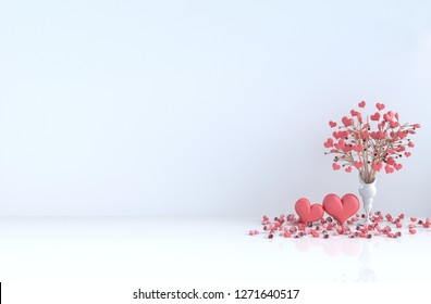 White room of love. Decorated with red heart, tree, red rose and petals. Rooms of Love on Valentine`s Day. Interior design and background. 3D render.