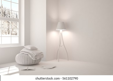 White room with modern furniture and winter landscape in window. Scandinavian interior design. 3D illustration