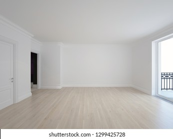 White room with oak floor and balcony in new home - 3D image
