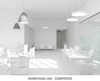 White room as office with desk and laptop computer 3D Rendering