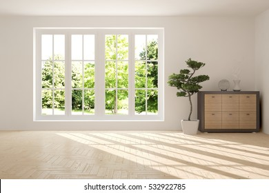 White room with shelf and green landscape in window. Scandinavian interior design. 3D illustration