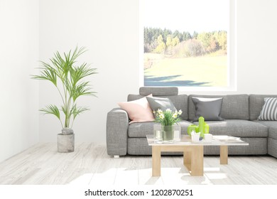 White room with sofa and atumn landscape in window. Scandinavian interior design. 3D illustration