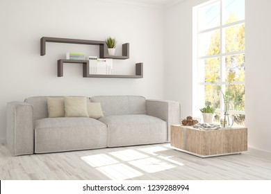 White room with sofa and autumn landscape in window. Scandinavian interior design. 3D illustration