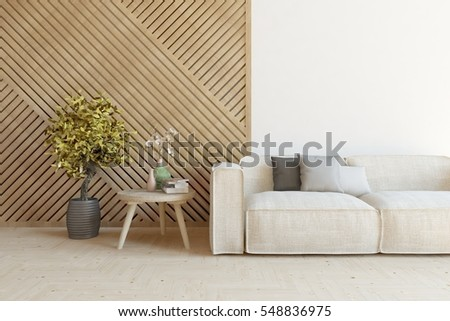 Royalty Free Stock Illustration of White Room Sofa Decorated Wall ...