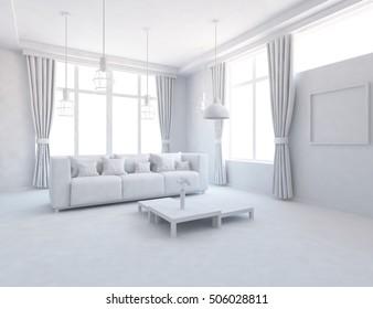 white room with sofa. Living room interior. Scandinavian interior. 3d illustration