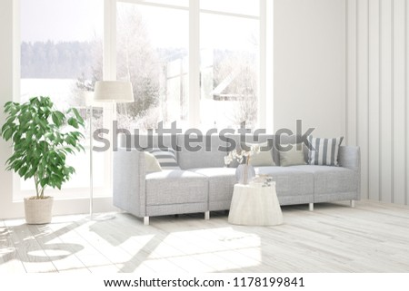 Incredible White Room Sofa Winter Landscape Window Stock Illustration Gmtry Best Dining Table And Chair Ideas Images Gmtryco