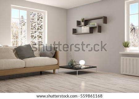 Enjoyable White Room Sofa Winter Landscape Window Stock Illustration Gmtry Best Dining Table And Chair Ideas Images Gmtryco