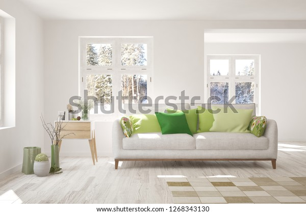 Sensational White Room Sofa Winter Landscape Window Stock Illustration Gmtry Best Dining Table And Chair Ideas Images Gmtryco