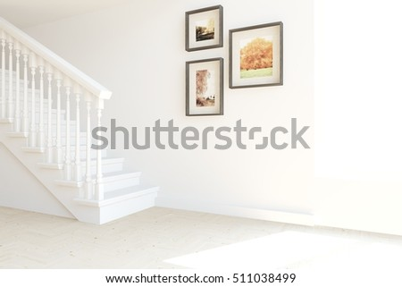 White Room With Stair. Scandinavian Interior Design. 3D Illustration