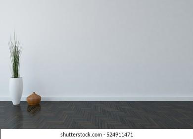 White room with vase. 3D illustration