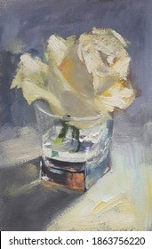 White rose in a glass, original artwork, oil on canvas painting