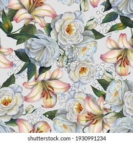 White roses with flowers lily on light background. Floral seamless pattern.