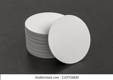 White round beer coasters on black background with clipping path around coasters. 3d illustration