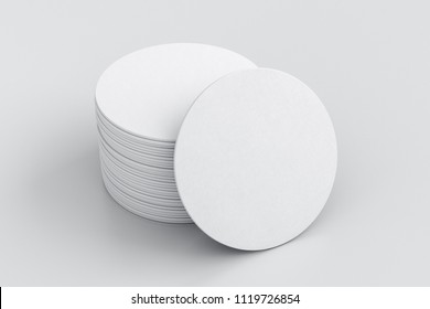 White round beer coasters on white background with clipping path around coasters. 3d illustration