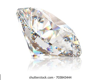 White round brilliant cut diamond, close-up side view with light reflection, isolated on white background. 3D rendering illustration