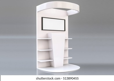 White Round Floor Display Rack For Supermarket Blank Empty Displays With Shelves Products On White Background Isolated. Ready For Your Design. Product Packing.3d illustration