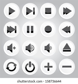 white round media player buttons and audio player isolated on gray background - jpg format.