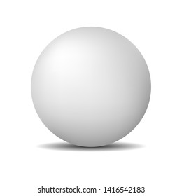 White round sphere or ball. Realistic matte pearl or plastic ball isolated on white background. Illustration for design.