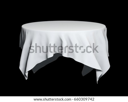 White Round Table Cloth Mockup Isolated Stock Illustration Royalty
