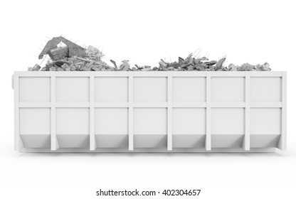 White rubble container left profile view isolated on white background. 3D Rendering, 3D Illustration.