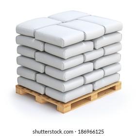 White sacks on wooden pallet
