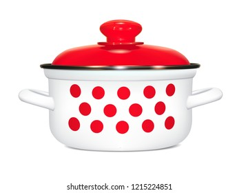 White saucepan with a pattern of red peas. cooking. With a red lid, a metal rim and a soft shadow. Photorealistic image on white background. Isolated,  illustration.