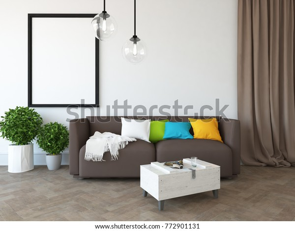 Miraculous White Scandinavian Room Interior Brown Curtains Stock Caraccident5 Cool Chair Designs And Ideas Caraccident5Info