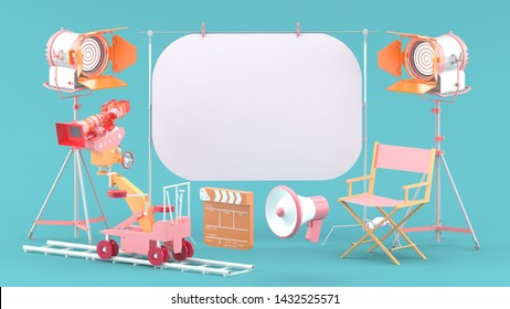 The white screen is surrounded by a movie camera, a spot light, a chair and a megaphone on a blue studio.-3d rendering.