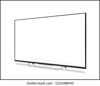White screen TV. 3D rendering