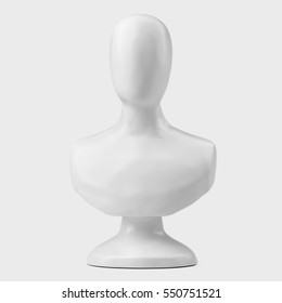 White sculpture bust on stand on gray background. Front view. 3D Illustration
