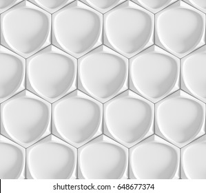 White seamless geometric texture. Origami paper style. Hexagonal elements. 3D rendering background.