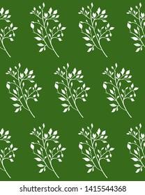 white seamless pattern on green background botanical hand drawn skech