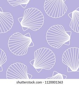 white seashells on a purple background sea ocean shell pattern seamless raster copy.