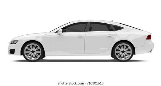 White Sedan Car Isolated. 3D rendering