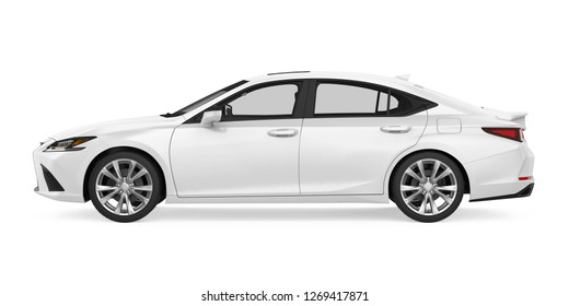 White Sedan Car Isolated (side view). 3D rendering