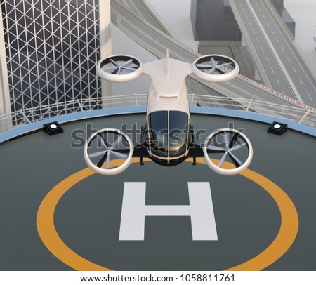White self-driving passenger drone takeoff and landing on the helipad. 3D rendering image.