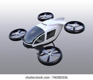 White self-driving passenger drones isolated on gray background. 3D rendering image.
