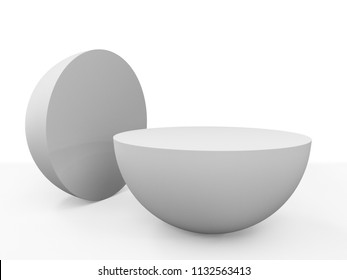 White Semi Sphere Mockup. 3D render