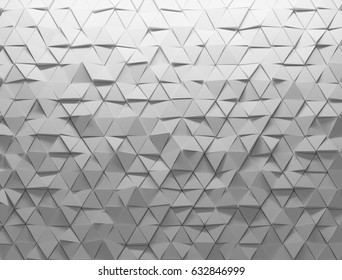 White shaded abstract geometric texture. Origami paper style. 3D rendering background.