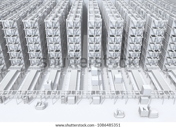 White shading of modern Automated Logistics Center's interior. AGV and autonomous forklift carrying goods. Concept for automated logistics solution. 3D rendering image.