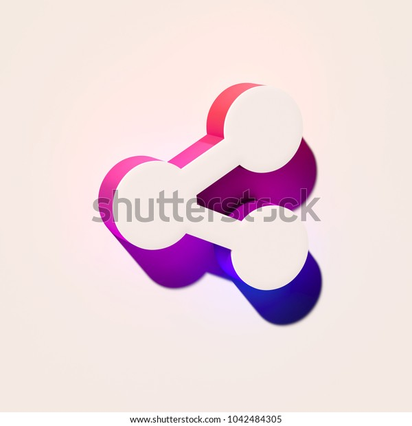 White Share Alt Icon. 3D Illustration of White Alt, Document, File, Folder, Format Icons With Pink and Blue Gradient Shadows.